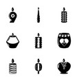 candlelight icons set simple style vector image