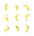 cartoon characters funny yellow bananas set vector image