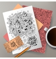 Cartoon doodles hippie corporate identity vector image vector image