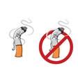 Cartoon sad cigarette butt character vector image vector image