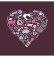 cat icons in heart vector image