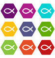 christian fish symbol icons set 9 vector image