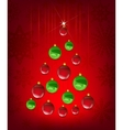 christmas card with tree in shape balls vector image vector image