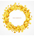 circle frame gold coins isolated on transparent vector image vector image