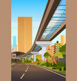 cityscape with skyscrapers and railway road modern vector image