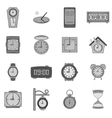 Clock icons set black monochrome style vector image