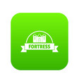 emblem fortress icon green vector image vector image