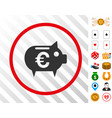 euro piggy bank rounded icon with bonus vector image vector image