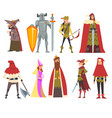 european medieval characters set old witch vector image