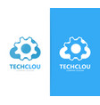 gear and cloud logo combination vector image vector image