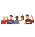 group people is waving hands male characters vector image vector image