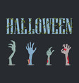 halloween placard and hands vector image vector image