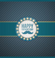 happy fathers day circle label with blue ribbon vector image vector image