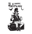 happy halloween lettering count dracula sitting vector image vector image