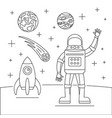 hello spaceman concept background outline style vector image