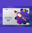 launch your business with rocket fly on space web vector image vector image
