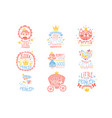 little princess set prints for infant girls vector image