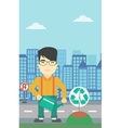 Man watering tree with recycle sign vector image vector image