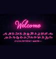 neon handwritten english letters vector image vector image