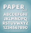 paper alphabet white letters and numbers on blue vector image