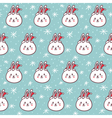 Rabbits in Santas hats seamless pattern vector image vector image