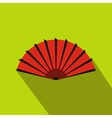 Red open hand fan icon flat style vector image vector image
