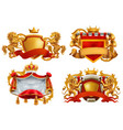 royal coat of arms king and kingdom 3d emblem set vector image