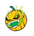 scary pumpkin head with green flame vector image