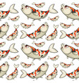 seamless background with koi fish vector image