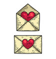 set love letter in engraving style design vector image