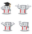 set of computer character with graduation wink two vector image vector image