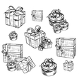 set of gift boxes with bows vector image vector image