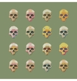 set of stylized skull on a green background vector image vector image