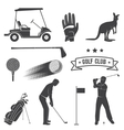 set vintage golf elements and equipment vector image