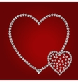 Shiny diamond hearts vector image vector image