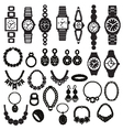 silhouette icons set with fashion watches and jewe vector image