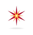 Star burst decoration sign Six rays red and orange vector image vector image