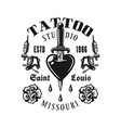 Tattoo studio emblem heart pierced knife