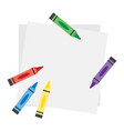 top veiw notebook paper sheet with color crayons vector image vector image