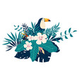 toucan embroidery patches with tropical flowers vector image vector image