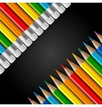 Two diagonal rows of rainbow colored pencils with vector image vector image