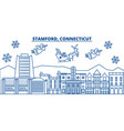 usa connecticut stamford winter city skyline vector image vector image