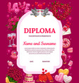 valentines day diploma certificate vector image vector image
