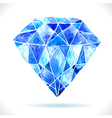 Watercolor beautiful blue diamond vector image vector image
