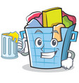 with juice laundry basket character cartoon vector image vector image