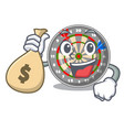 with money bag dartboard stuck to the cartoon wall vector image