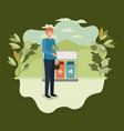 young man planting tree in the park with recycle vector image vector image