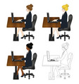business woman sitting with laptop vector image