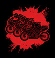 3 motorcycle racing team side view graphic vector image vector image