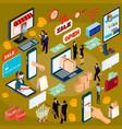 3d isometric concept e-commerce online store vector image